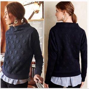 Anthropologie Postmark Puffy Polka Dot Sweater